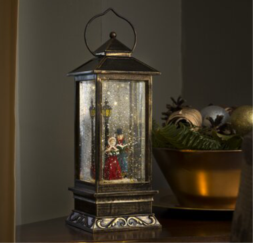 LED Square Christmas Carol Singers Dickensian Water Filled Lantern - LEDSnowLanternDickensianSce.png